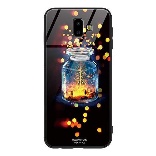 Zhuofan Plus Cover Samsung Galaxy J6 Plus, Custodia Silicone Soft Tpu Gel Bumper con Design Print Pattern Vetro Temperato Antigraffio Antiurto Protactive Cover per Samsung Galaxy J6 Plus, Bottiglia