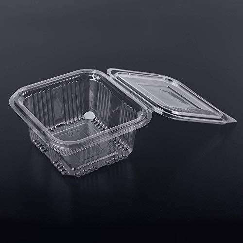 (Packung mit 70 Stück) 500 ml Einwegverpackungen aus Kunststoff mit Deckel, Aufbewahrungsboxen für Kekse, Salat, Lieferdienste, Fast Food, 500 ml, 70 Stück
