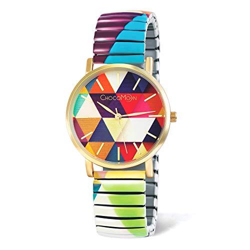 ChocoMoon™ Charming Vintage Armbanduhr - Damenuhr für Frauen - Armbanduhr mit Quarzuhrwerk Analog - Flexibles Edelstahl Zug-Armband - Außergewöhnlicher Frauen-Schmuck modebewusste Frauen
