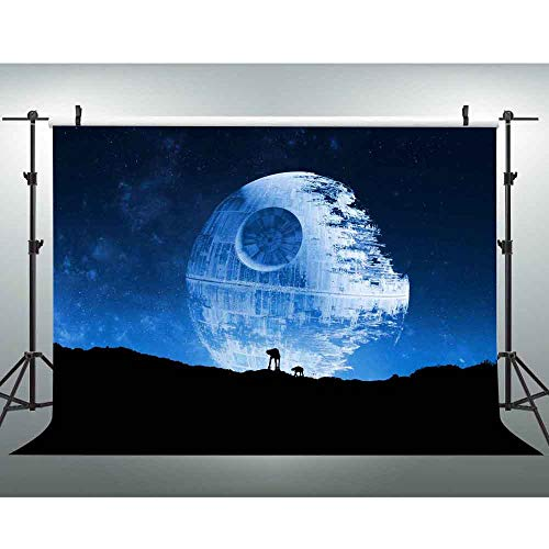 EOA 5(W) x3(H) FT Blue Death Star Photography Backdrop Galactic Superweapon Star Wars Fans Background Man Cave Tapestry Banner Studio Props