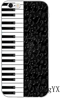 White Black Piano Pattern Galaxy S7 Edge Case Music Theme I Phone Cover Keyboards Instrument Organ Classic Musical Italian Orchestra Italy Cellphone Protector, Plastic