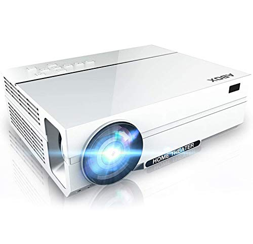 Full HD Support 1080p Video Projector, Native 1920 x 1080p Projector, 5000 Lux, 50000 Hrs, 2X HiFi Speakers,Supports TV Stick, HDMI, USB, SD Card, VGA, AV
