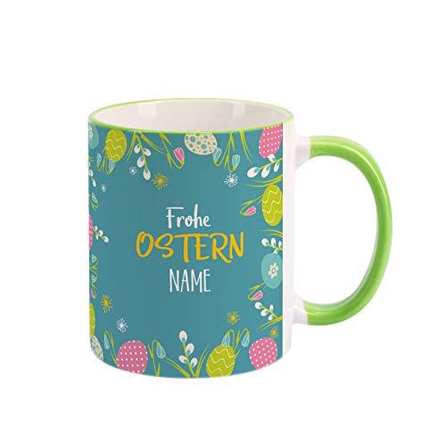 Herz & Heim® Ostergeschenk Tasse mit Wunschname - verschiedene Motive Blumen und Ostereier