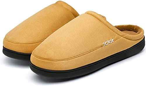 Mishansha Pantuflas Hombre Memory Foam Calidas Zapatos de Casa Mujer Confortable Suaves Vellón de Coral Zapatos para el Hogar Dormitorio Interior y Exterior Marrón 110 Gr.45