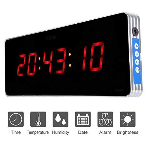 Home Digitale Wanduhr Digitale Led Kalenderuhr Temperatur Wanduhren Eu-stecker 110-240 V (36 * 13 * 3cm-Stunde + Minute + Sekunde)