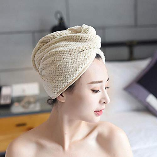 ESFOTO Hair Drying Towels, Hair Wrap Towels, Super Absorbent Hair Towel with Button Design Fast Dry Hair (Beige)