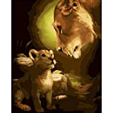 ZXDA Frameless León DIY Pintura por números Animal Pintado a Mano Pintura al óleo Lienzo para Colorear decoración de la Pared del hogar A5 40x50cm