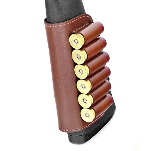 Genuine Leather Buttstock Ammo Holder Shotshell Carrier | Shotgun Shell Cover 6 (20) Gauge | Ammo Pouch Bag Stock Shotgun Shell Holder | Dark Brown
