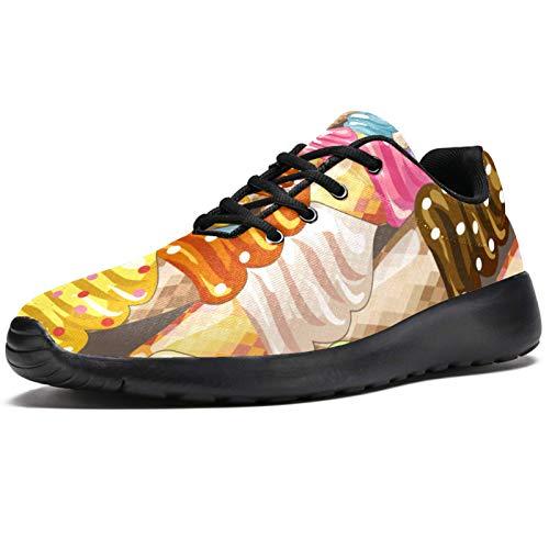 Deporte Zapatillas de correr para las Mujeres Colorido Helado Delicioso Amarillo Rosa Púrpura Zapatillas de deporte de la Moda Malla Transpirable Caminar Senderismo Tenis, color, talla 40 EU
