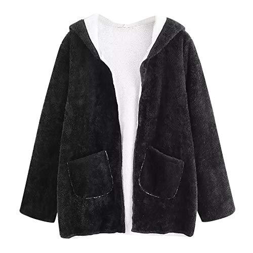 BOLANQ Plüschmantel Mantel, Frauen-beiläufige Tropfen-Schulter-Doppeltaschen-mit Kapuze Mantel-Bluse Outwear(Large,Schwarz)