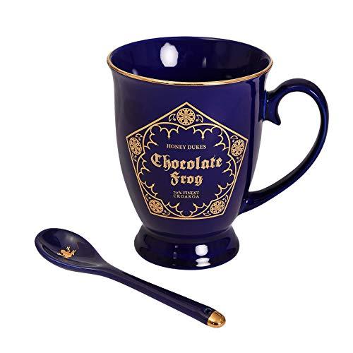 Elbenwald Taza de Harry Potter Rana Chocolate con Cuchara 270ml Ceramica Azul