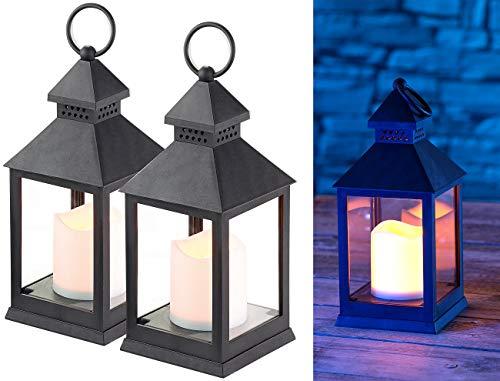 Lunartec Grablaternen: 2er Pack Laterne mit flackernder LED-Kerze und Timer, Batteriebetrieb (Laterne mit LEDkerze)