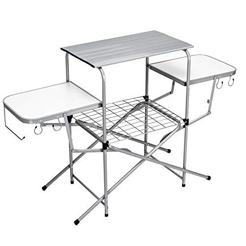 Giantex Folding Camping Table, Portable Aluminum Picnic Table with Side Tables, Storage Shelf and Carrying Bag, Outdoor Camping Kitchen Cooking Grill Table Station for Picnics Barbecue RVing Backyard