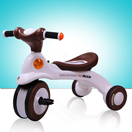 GLJJQMY Kinder Dreirad Fahrrad Kinderwagen 3-6 Jahre Old Music Light Tretauto, braun, 650x395x495mm Babywagen