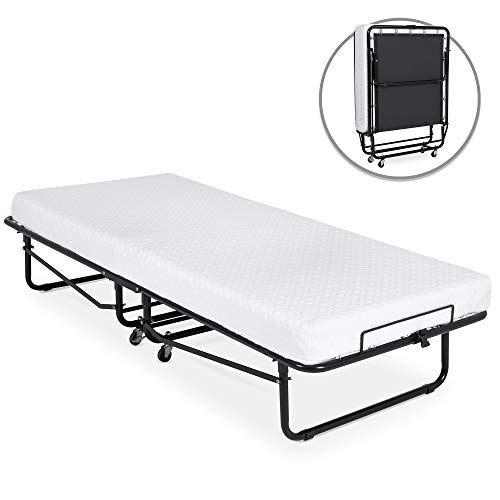 Best Choice Products Twin Folding Rollaway Cot-Sized Mattress Guest Bed w/ 3in Memory Foam, Locking Wheels, Steel Frame - Black