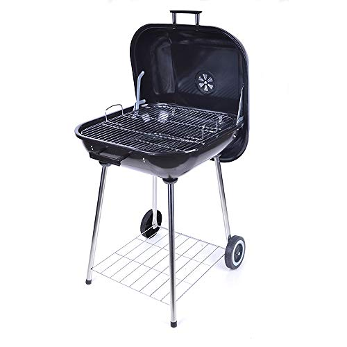 RKRZLB BBQ Grill, Vier Beine mit Pulley Barbecue Grill Barbecue Charbon De Bois mit Deckel for Family-Party-Schwarz 21 Zoll Charcoal Grill Smoker