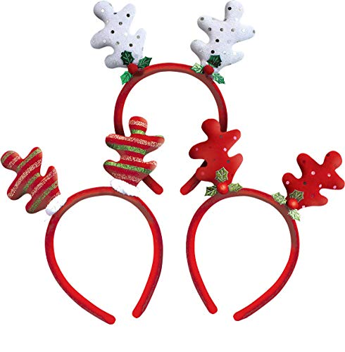 OLYPHAN Christmas Headbands for Women / Girls Xmas Headband Reindeer Antler Hairband / Fun Xmas Tree & Antlers Headgear - Kids & Adults