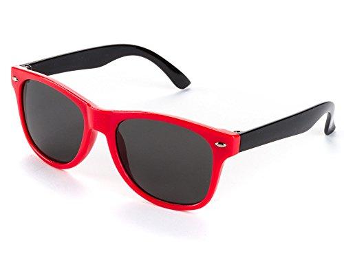 Kiddus POLARISIERTE Sonnenbrille für Jungen und Mädchen. UV400 100% Schutz gegen ultraviolette Sonnenstrahlen. Ab 6 Jahren, 01 Schwarzer Rahmen. Rote Bügel