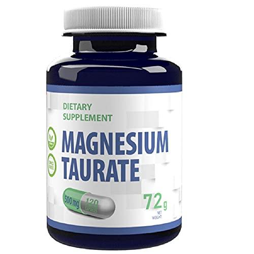 Magnesio Taurato 2000mg por dosis 120 cápsulas veganas, puro, sin rellenos
