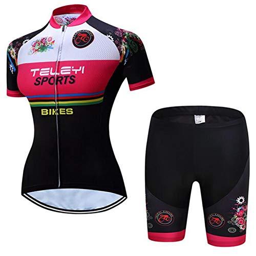 QWA Mujeres Ciclismo Jersey Conjuntos Manga Corta, Respirable Secado Rápido Camisa + Baberos de Ciclismo con Acolchado 20D, Cremallera Completa Ropa de Montar (Color : Black 2, Size : I(4XL))