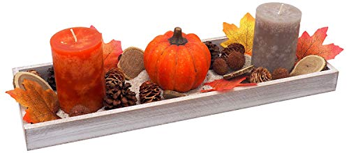 ZauberDeko Tablett Herbst Herbstdeko Tischdeko Deko Kerze Kürbis Orange Braun Holz Natur