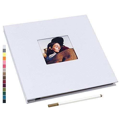 potricher 11x10.6 Inch Self Adhesive Photo Album Sticky 3x5 4x6 5x7 6x8 8x10 8.5x11 Magnetic Scrapbook Album 40 Pages Linen Cover DIY Photo Album with A Metallic Pen (White)