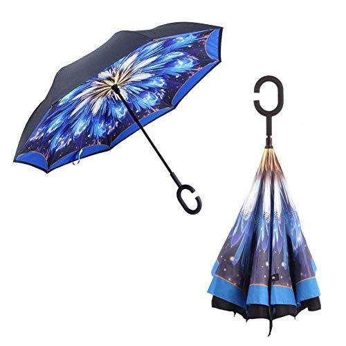 Manfâ Inverted Stockschirme, Innovative Schirme Double Layer, Winddicht Regenschirm, Freie Hand,Umgedrehter Regenschirm mit C Griff für Auto Outdoor with Carring Bag