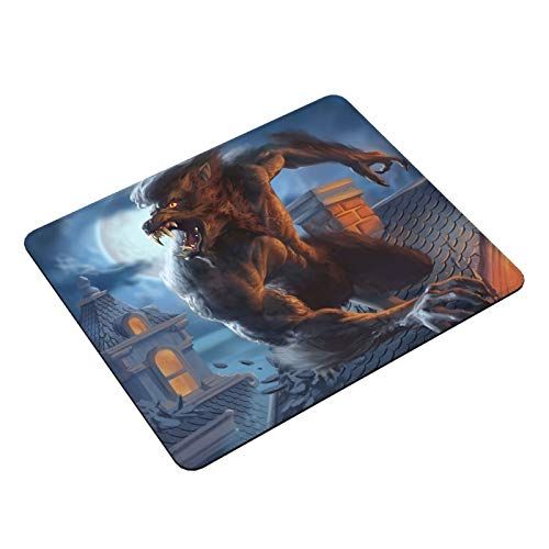 AKEANU Werewolf in London Gaming Mouse Pad,Large Computer Keyboard Mouse Mat,Desk Pad with Non-Slip Base and Stitched Edge for Work, Gaming, Home Office(11.8x9.8x0.12inch)