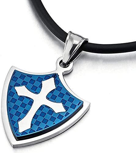 Aluyouqi Co.,ltd Collar Collar con Colgante De Cruz De Caballero De Acero para Hombre Azul Plateado con Tablero De Ajedrez Y Cordón De Silicona