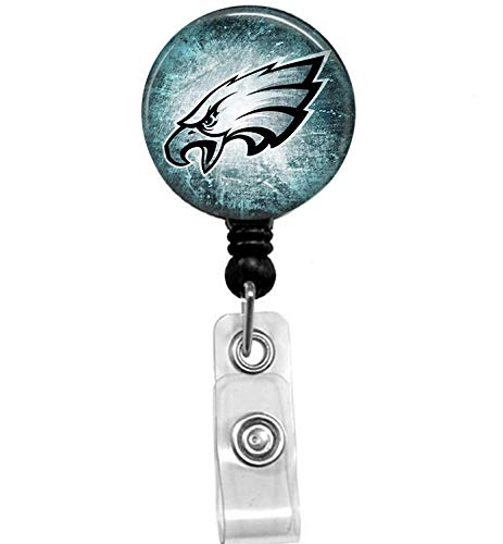 Philadelphia Eagles Badge Reel, Retractable Name Card Badge Holder with Alligator Clip, 24in Nylon Cord, Medical MD RN Nurse Badge ID, Badge Holder, ID Holder, Office Employee Name Badge