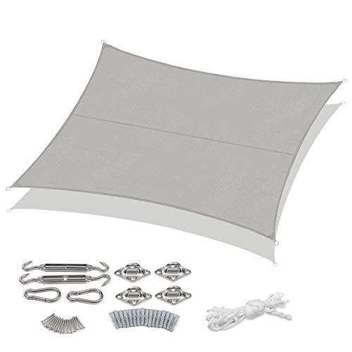 Sekey Toldo Vela de Sombra Rectangular Protección Rayos UV, Resistente Impermeable para Patio Exteriores Jardín y Kit de Montaje Gris Claro 3×4m