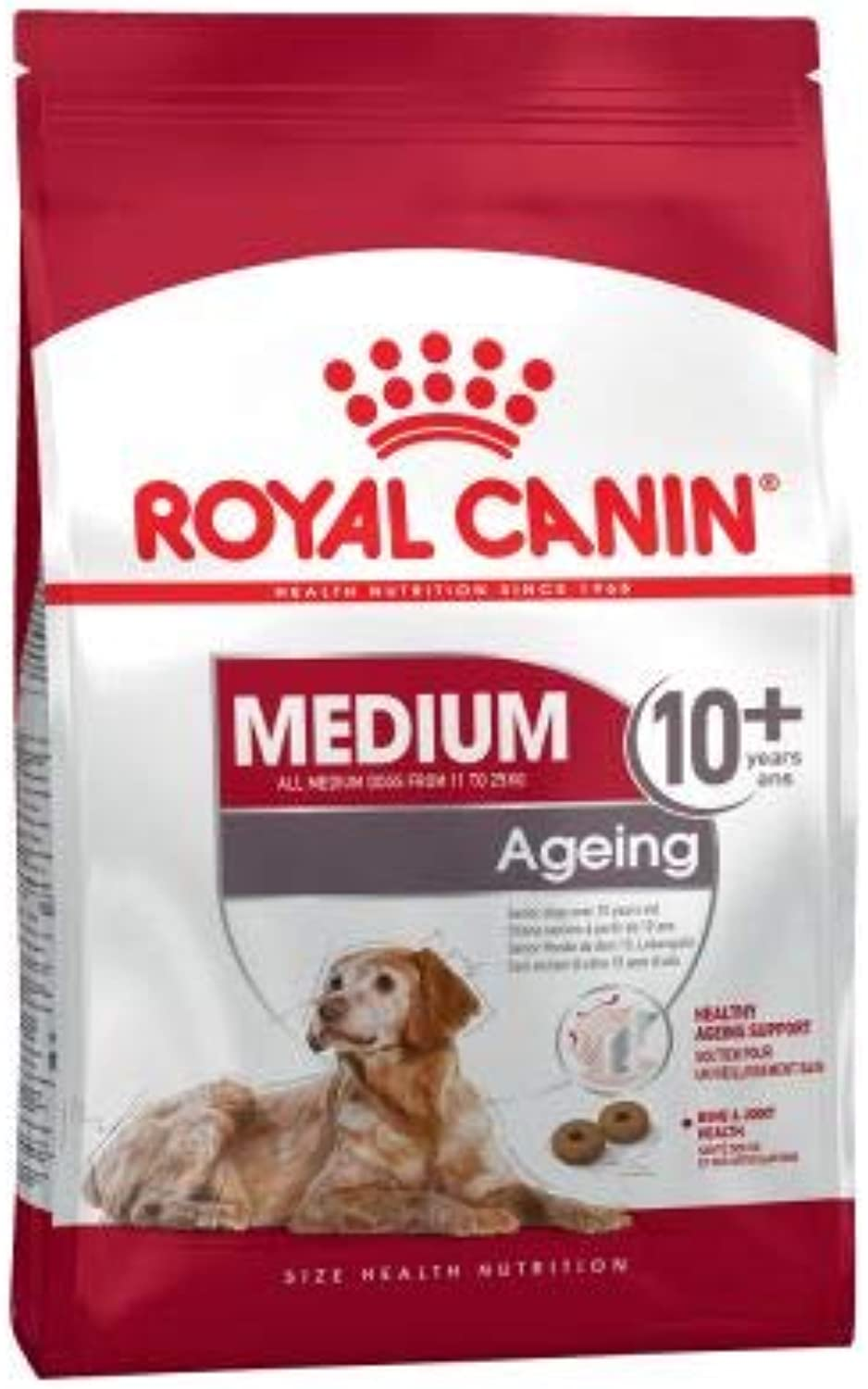 Dog Food Royal Canin Medium Ageing 10+ contains selected nutrients to support graceful ageing in older medium breed dogs Economy Pack  2 x 15kg