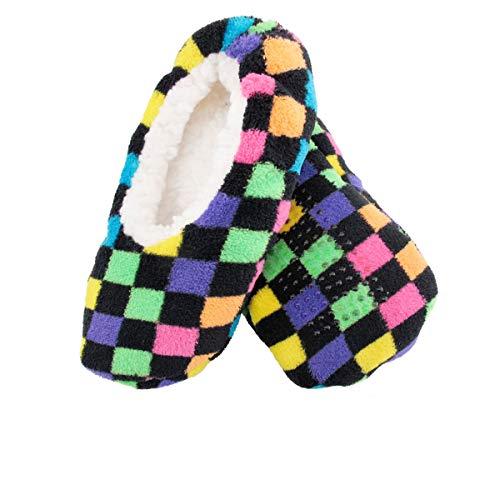 BambooMN Women's Super Soft Warm Colorful Footsie Slipper Socks, 3 Pairs Style B