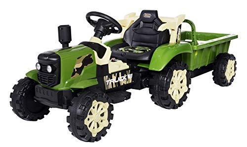 Actionbikes Motors Kinder Elektro Traktor mit Anhänger - 2,4 Ghz Fernbedienung – LED Scheinwerfer - Elektro Traktor für Kinder ab 3 Jahre (Grün)