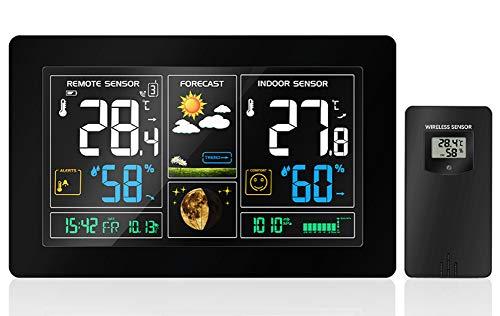 YYZLG Innen- und Außenthermometer, Farbbildschirm Wettervorhersage Uhr Drahtloser Großbild-Multifunktions-Elektronischer Weckertemperatur