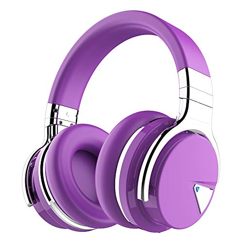 COWIN E7 Active Noise Cancelling Headphones Bluetooth Headphones with Microphone Deep Bass Wireless Headphones Over Ear, Comfortable Protein Earpads, 30 Hours Playtime for Travel/Work, Purple