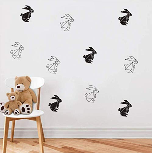 Luzhenyi Geometric Origami Rabbit Dog Aircraft Art Wall Stickers For Kids Rooms Decoration Diy Decal Wall Sticker Home Decor Received 30X30Cm