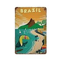 リオデジャネイロブラジルオオハシさびた錫のサインヴィンテージアルミニウムプラークアートポスター装飾面白い鉄の絵の個性安全標識警告バースクールカフェガレージの寝室に適しています