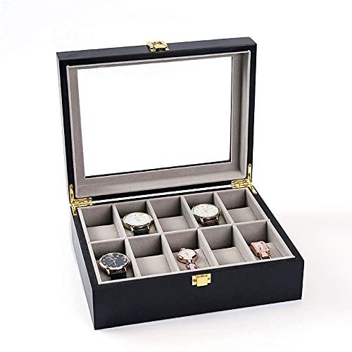 ZHZHUANG Reloj Caja de Madera Sólido Pintura Reloj de Reloj de Joyería Caja de Almacenamiento Multi-Color Black Mostrar Caja 10 Ventana Caja de Recolección de Gris de Cristal Transparente