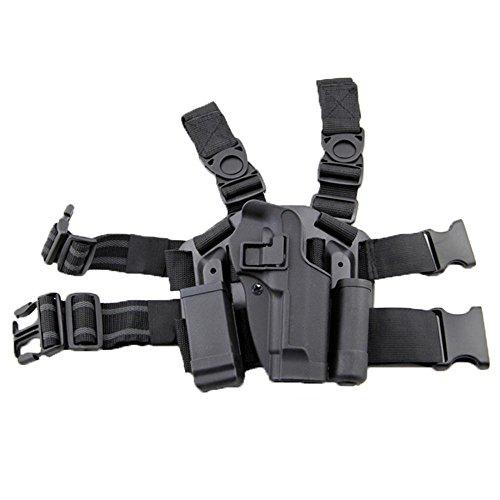 LIVIQILY Tactical Leg Holster Right Hand Thigh Belt Drop Pistol Gun Holster w/Magazine Pouch for G17 19 22 23 31 32 (Black)