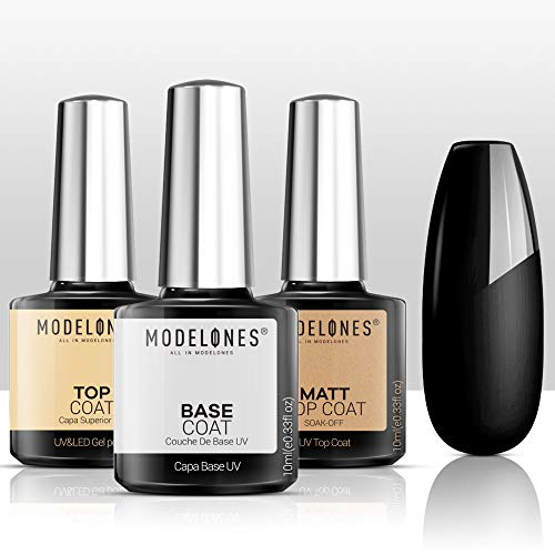 Modelones Matte Gel Top Coat With Base Top Coat Gel Nail Polish, No Wipe Top Coat Nail Lamp Needed, Soak Off Varnish 3x10ml, High Gloss Shiny and Matte Effects In One Set