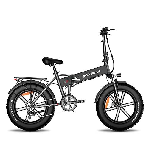 Bici elettrica Fat Bike Adulti - Docrooup DS2 Pieghevole Bicicletta Elettrica E Bike Motore da 500W-750W con Batteria Rimovibile 48v 12Ah 7 Velocità 5 Modalità Mountain Bike Elettrica Magazzino UE