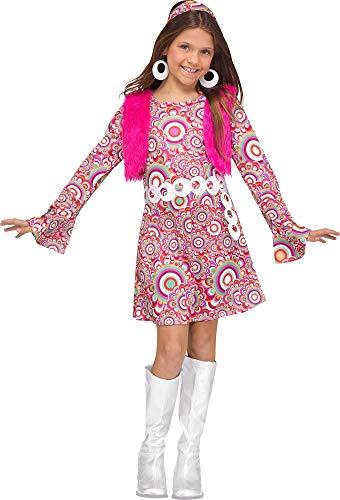 shoperama The Groovy 60's Hippie Kinder-Kostüm Mädchen Kleid Fell-Weste Stirnband Sixties Woodstock, Größe:M - 8 bis 10 Jahre