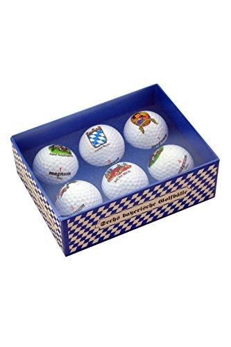 Bavariashop Beierse golfbalset, golfballen met Beierse motieven, buitengewoon voor de golfbal, 6 golfballen