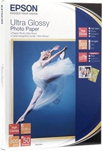 Epson Ultra Glossy Photo Paper, 100x 150mm, 300g/m², 50Blatt–Fotopapier (100x 150mm, 300g/m², 50Blatt, 106x 156x 21mm, 100x 150)