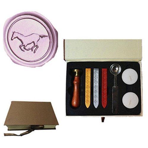 MDLG MDLG Vintage Paard Running Aangepaste Foto Logo Bruiloft Uitnodiging Wax Seal Sealing Stamp Set Kit Box Kit