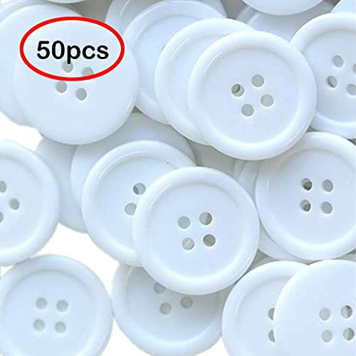 Fasclot Cufflink for Women Button 4 Holes 1 Inch Buttons 25mm Sewing Flatback Button Black White 50PCS for Womens Gifts