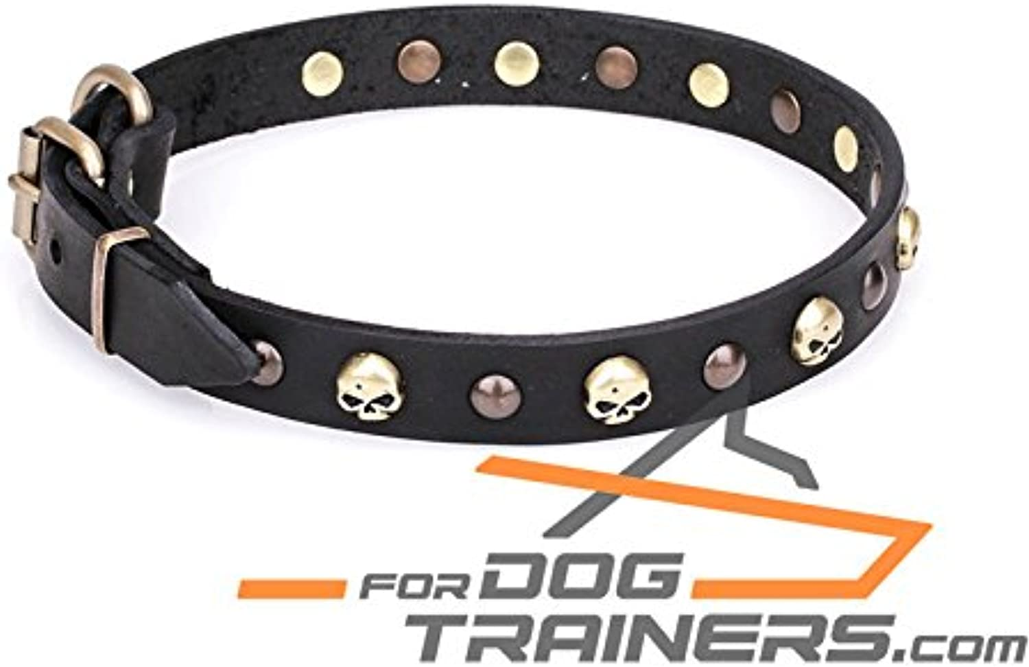 34 inch Brown Leather Dog Collar with Old Bronze Brass Plated HalfBall Studs and Skulls   Flibustier Charm   1 Inch (25 mm)