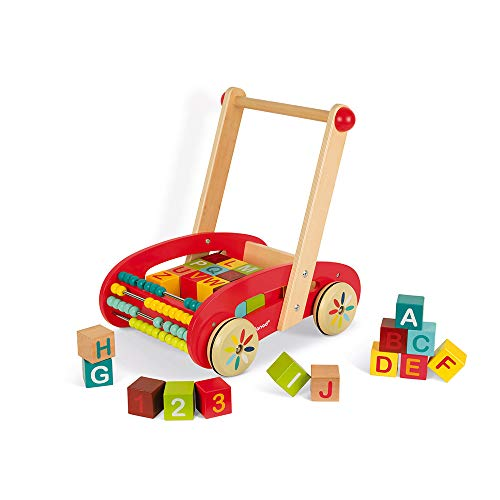 Why Should You Buy Janod ABC Walking Wooden Trolley Push Cart with 30 Blocks