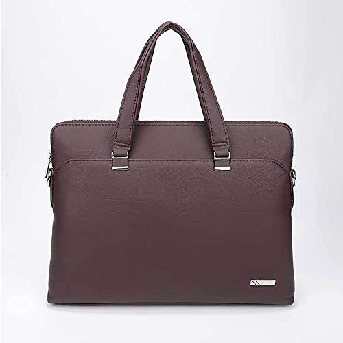 BSDK leren laptoptas voor heren, 14 inch, leren aktekoffer, schouder-laptop-bedrijf, vintage, slanke tas